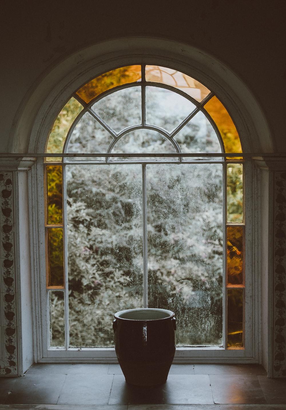 pot on glass window