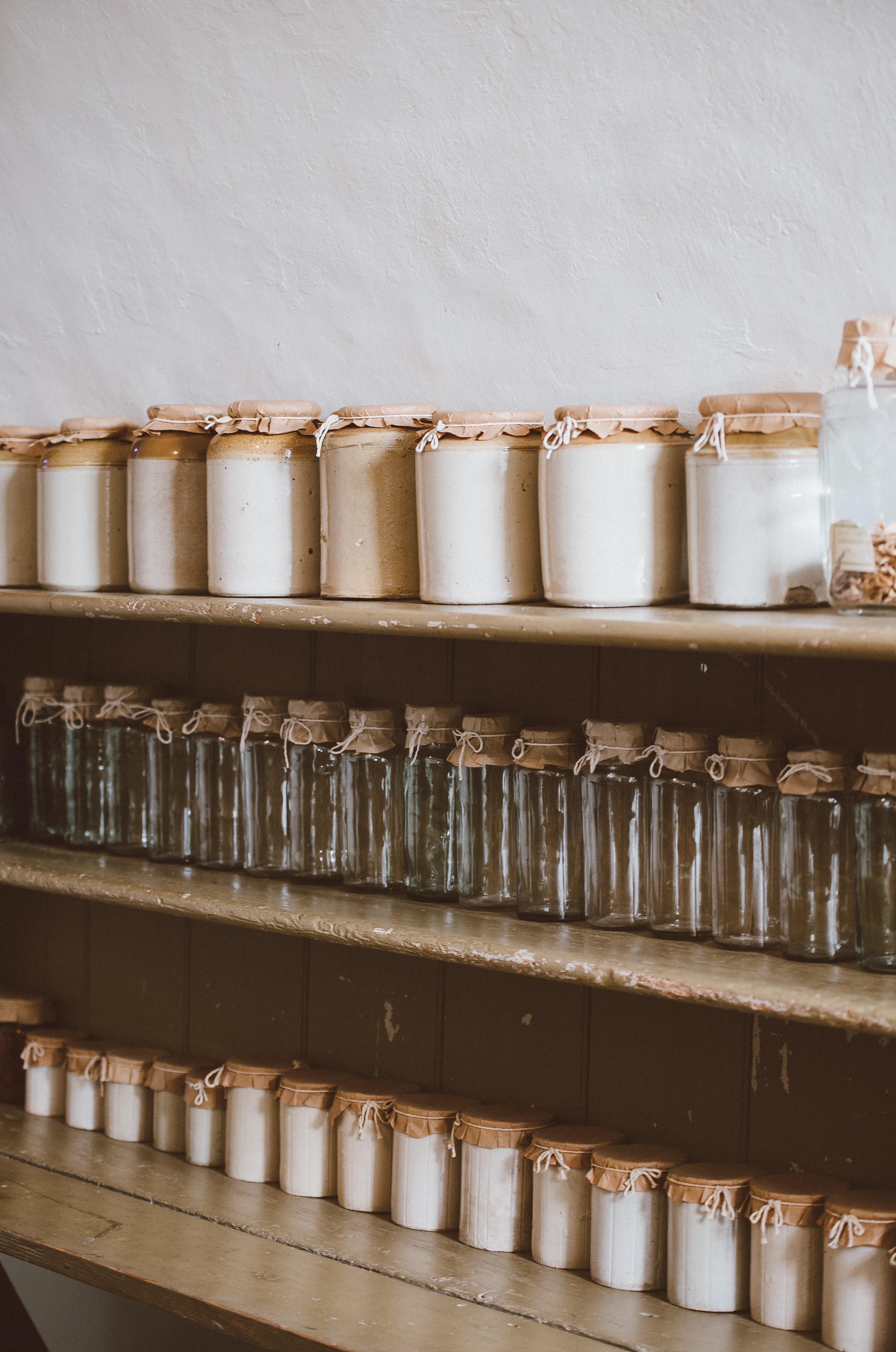 lots of jars in shelf