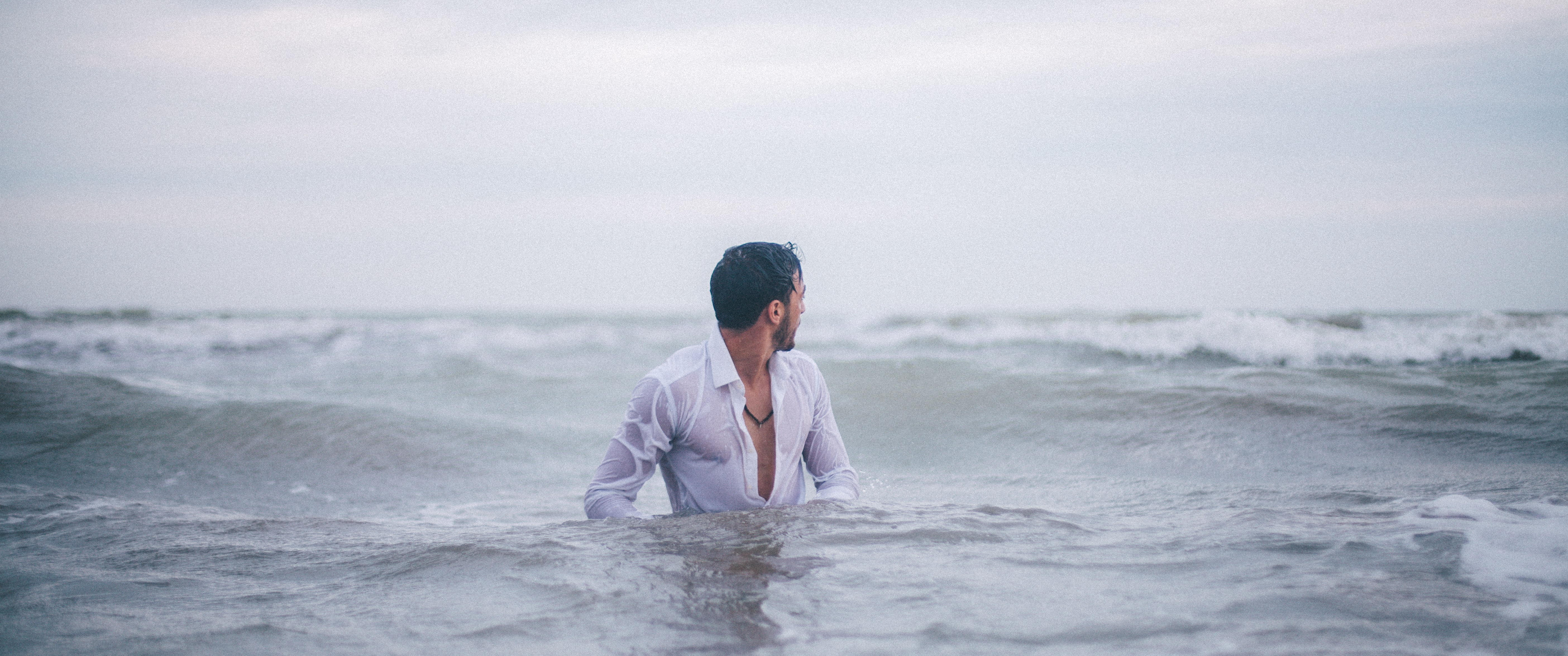 man in water