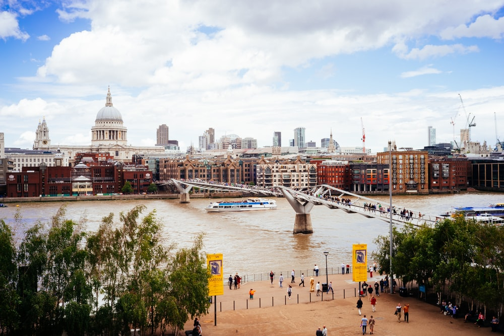 people walking on bridge in city