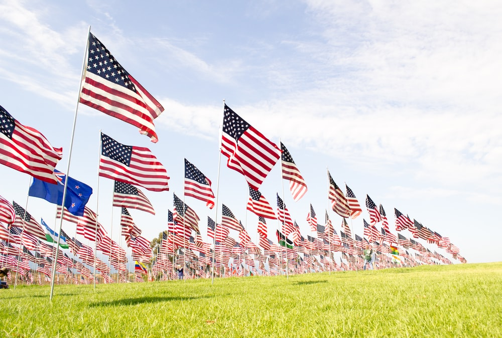 U.S.A flags on green grass field during daytime