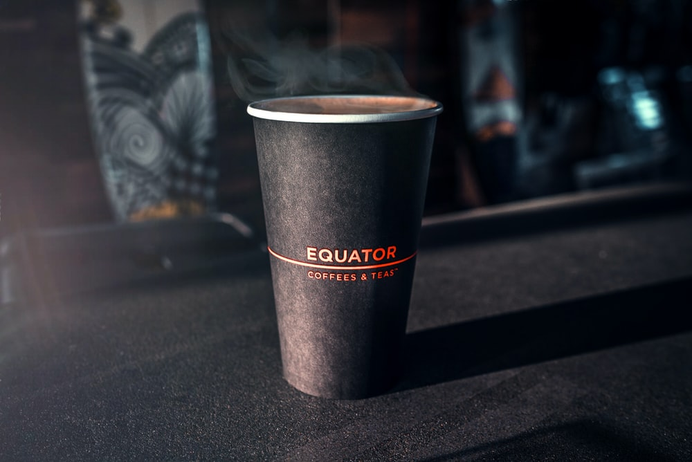 black disposable cup
