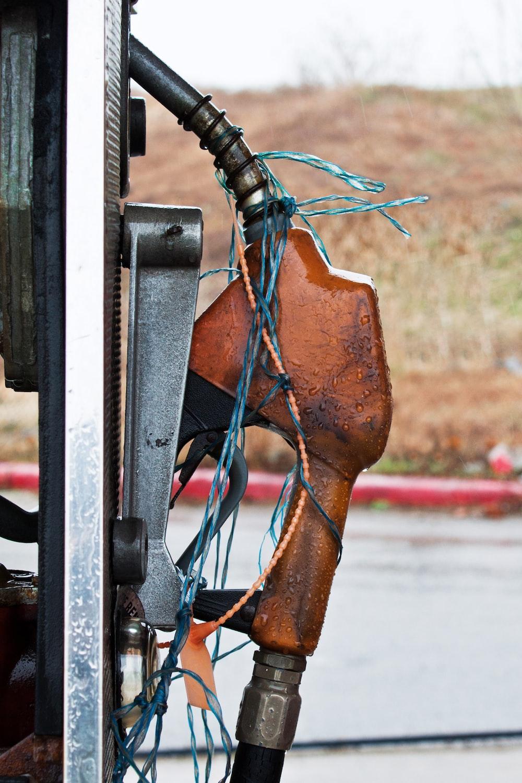 photo of brown gas pump