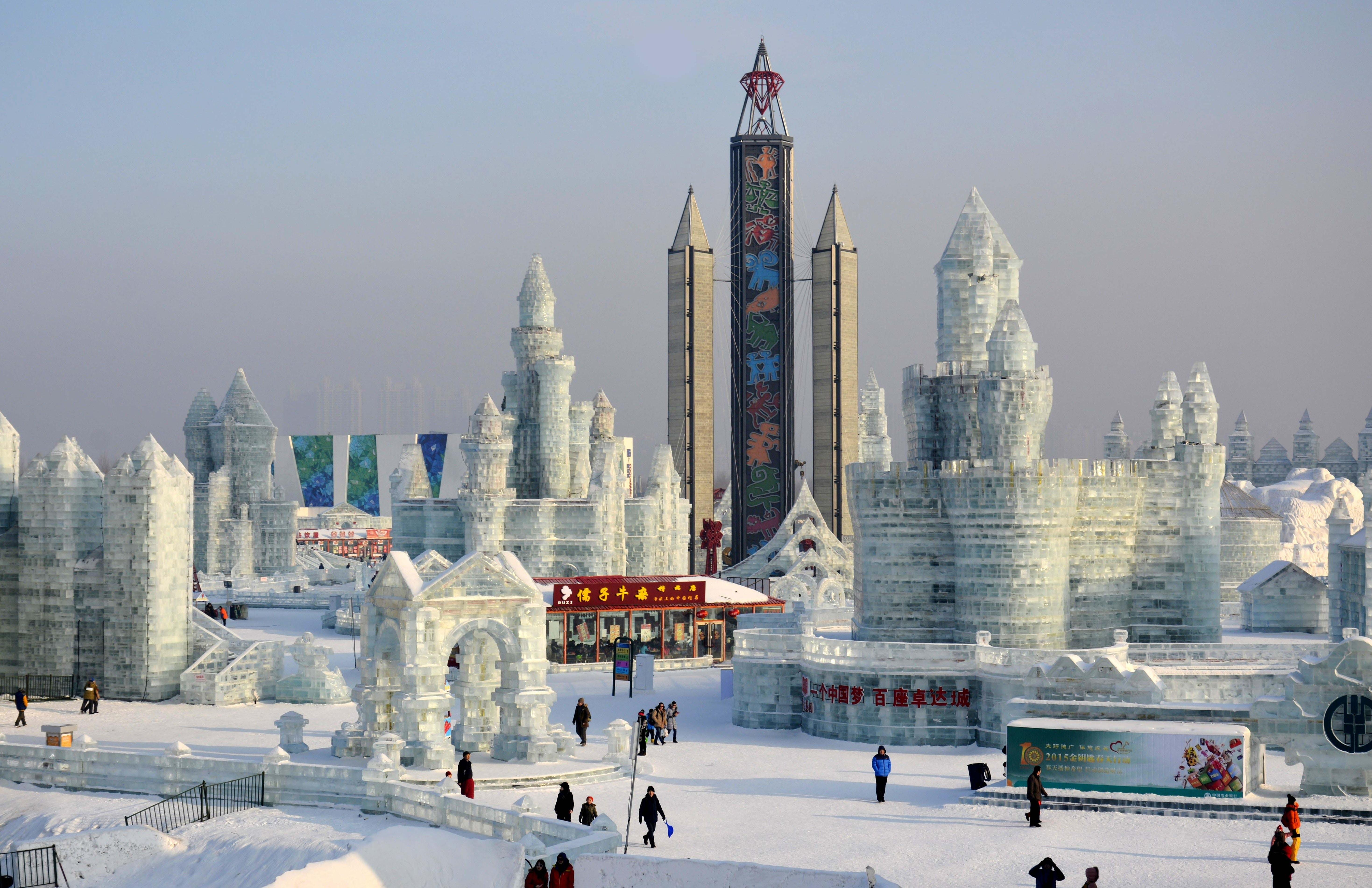 snowy-accent amusement park