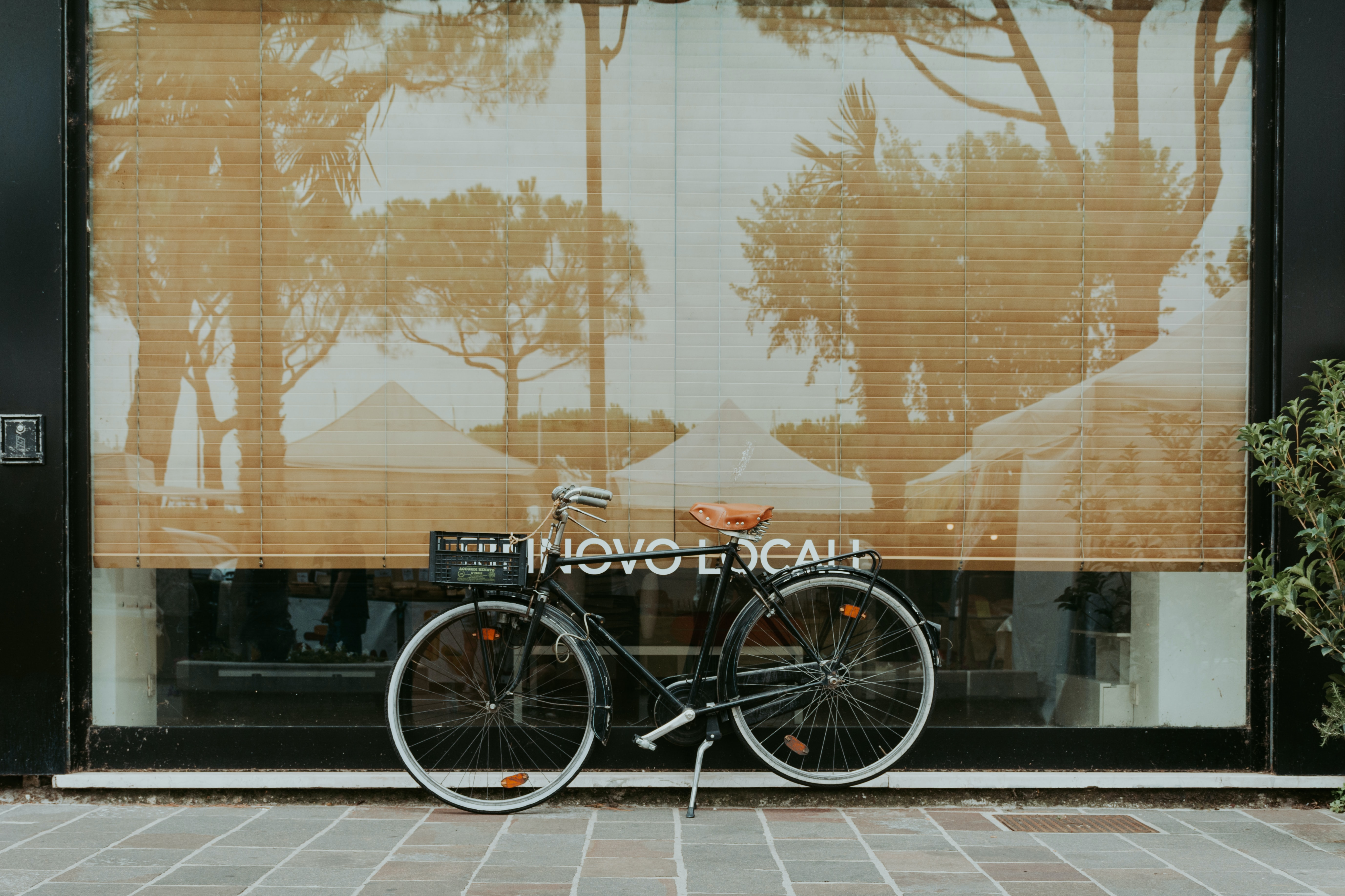 black touring bicycle on the floor