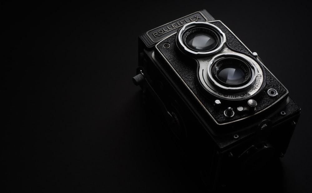 black Rolleiflex camera grayscale photo