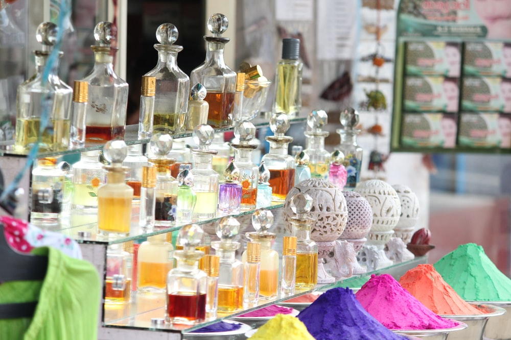 display of fragrance bottle collection outdoors