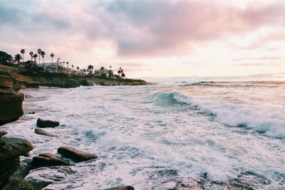 sea waves crashing on shore during golden hour san diego teams background