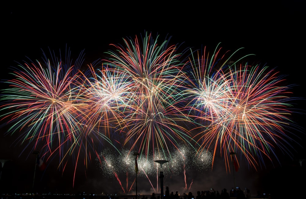 landscape long exposure photography of fireworks display