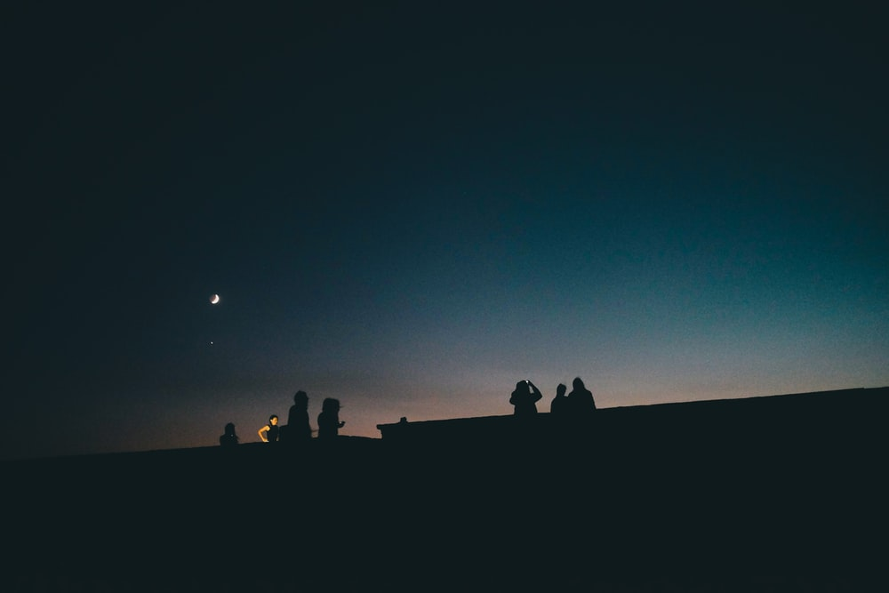 silhouette of people under clear sky