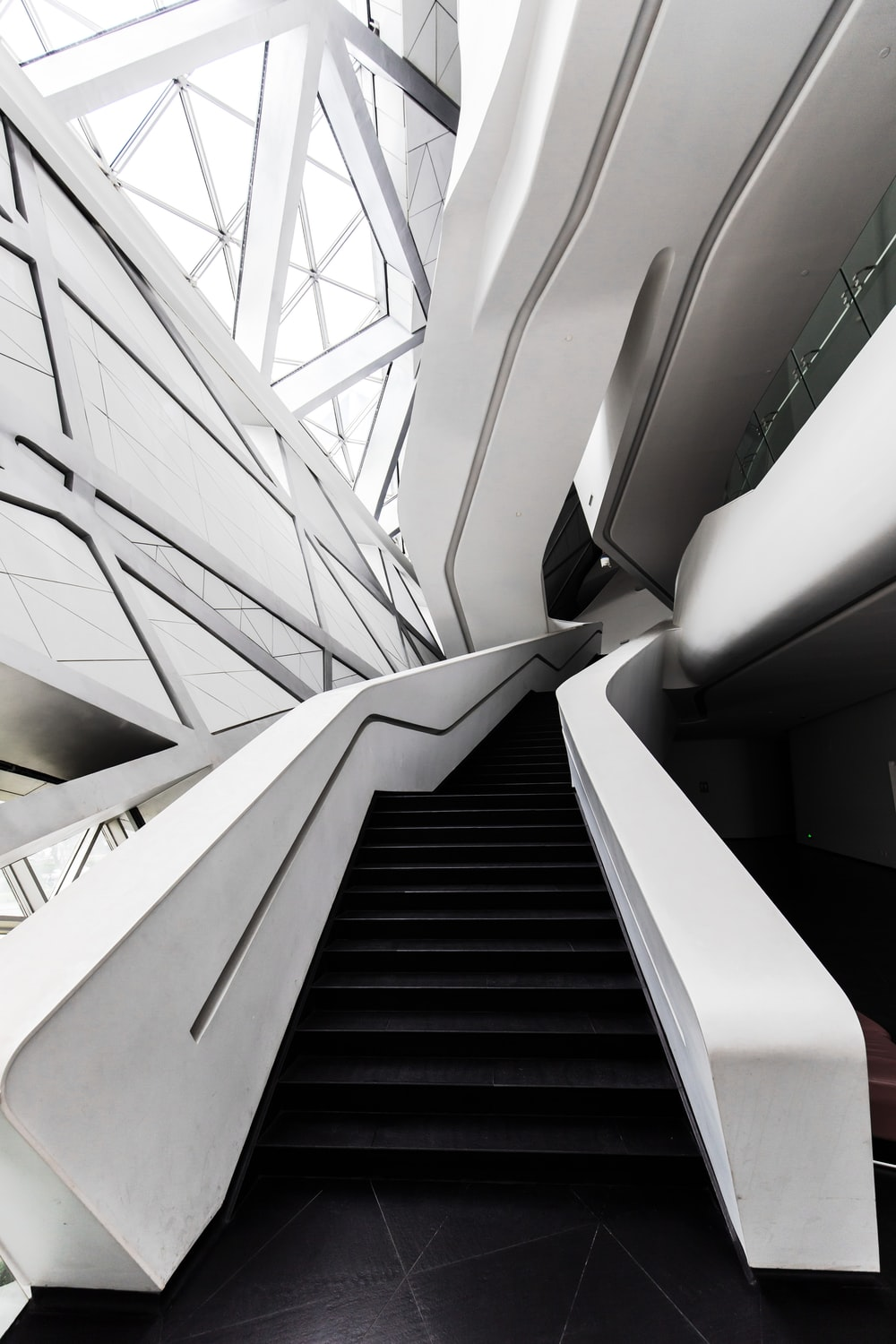 photo of white and black staircase