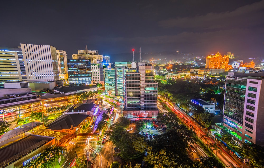 long-exposure photo of urban city with lights