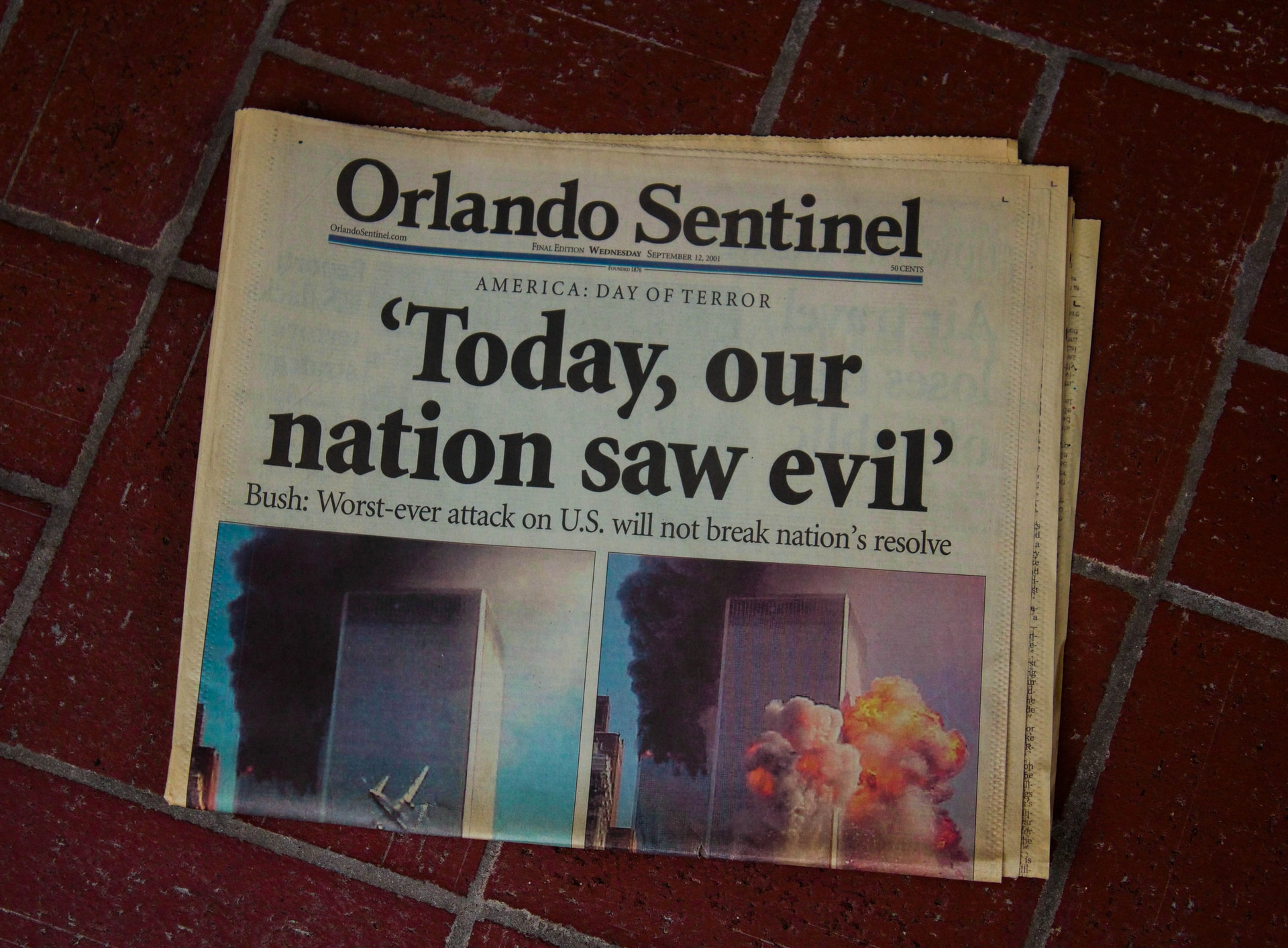 Orlando Sentinel Today, our nation saw evil newspaper