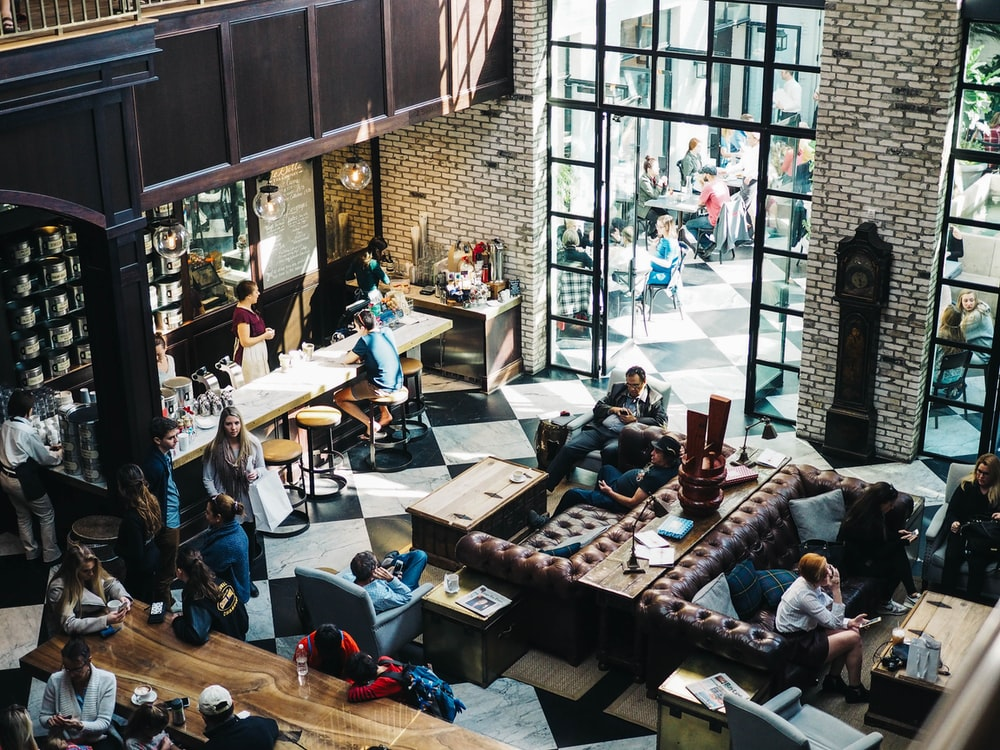 aerial photo of people on bar