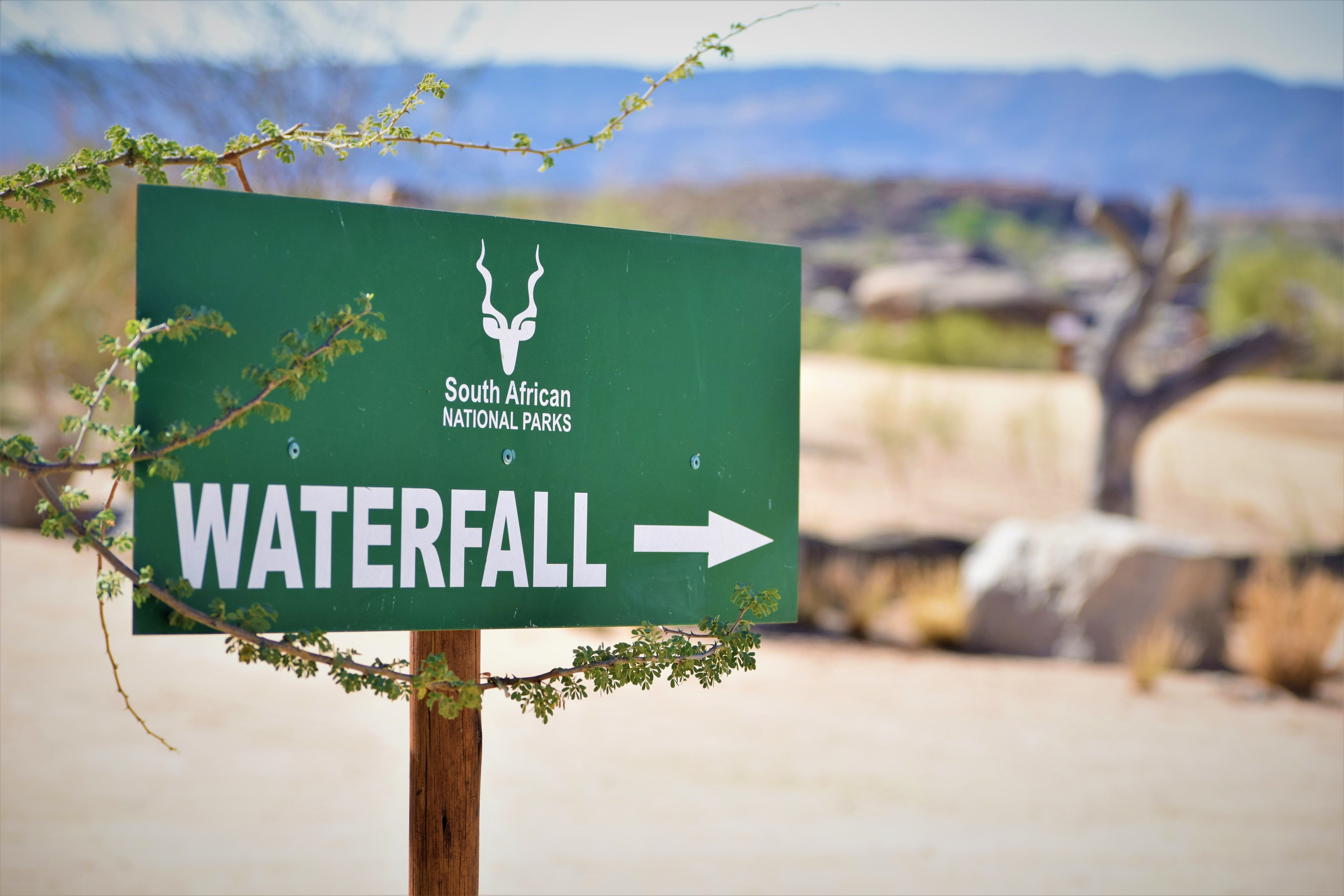 South African National Park waterfall roadsign