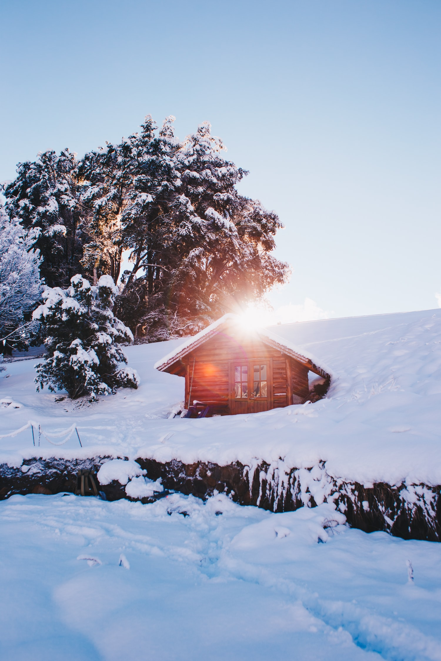 landscape photo of house covered with snow