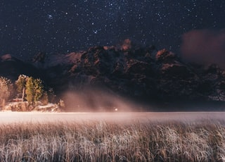 landscape photo of mountains under starry sky at nighttime