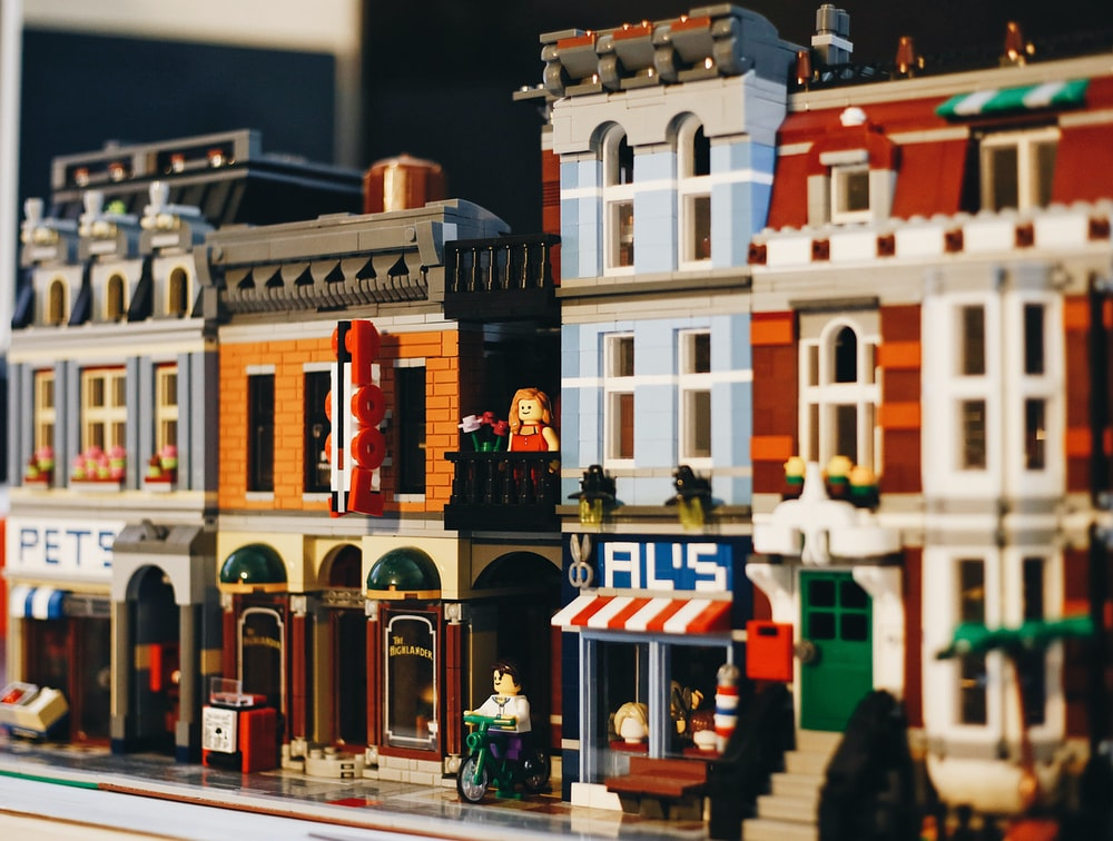 white and multicolored building scale model