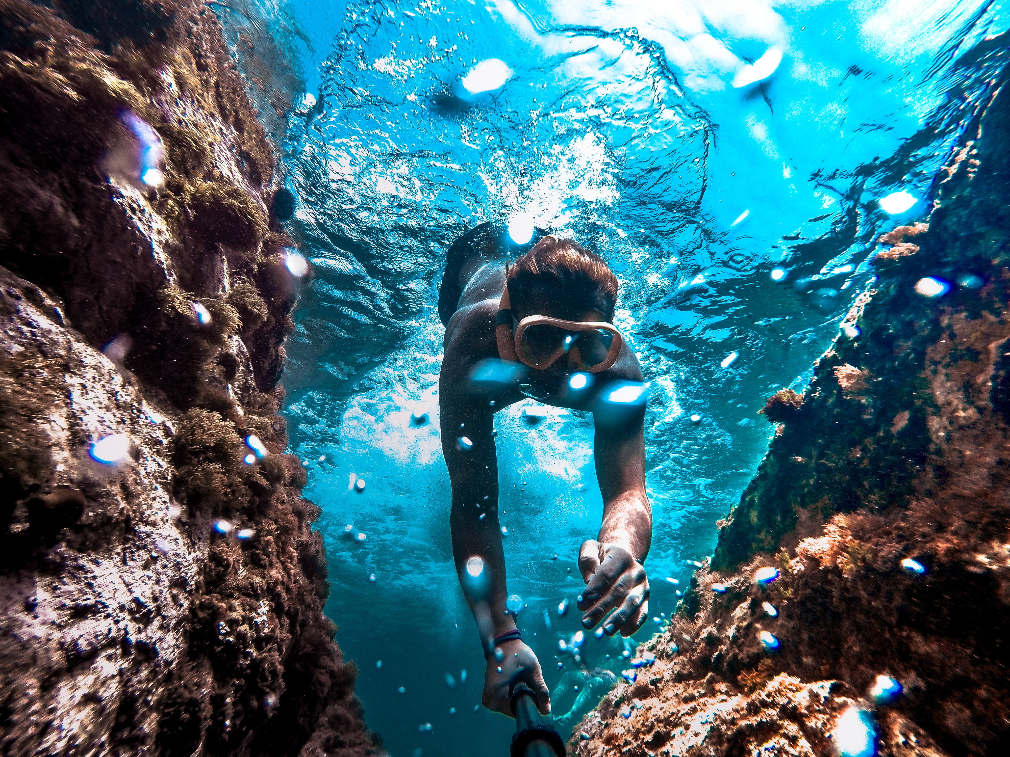 diver diving underwater