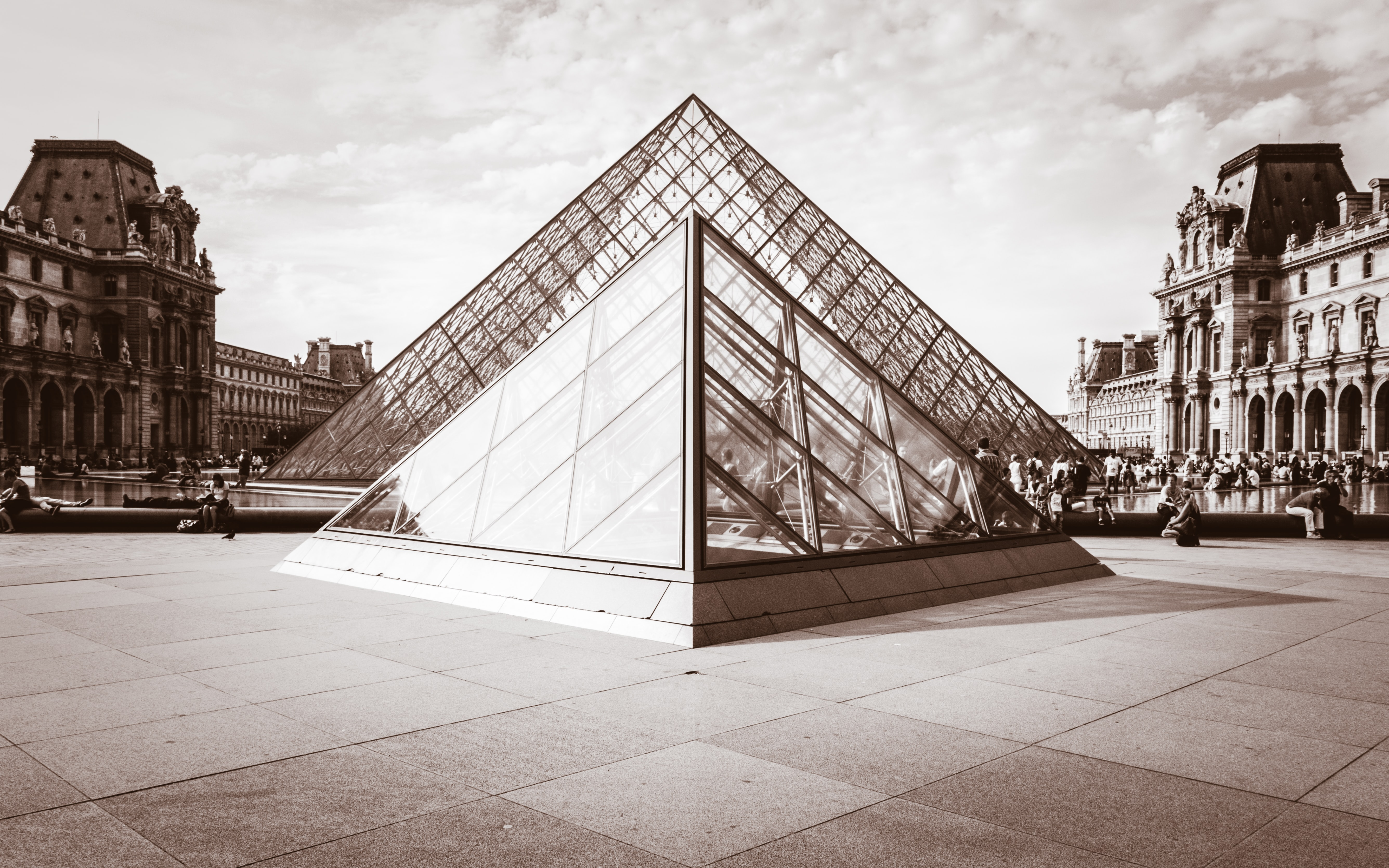 grayscale photo of Louvre Museum, Paris, France