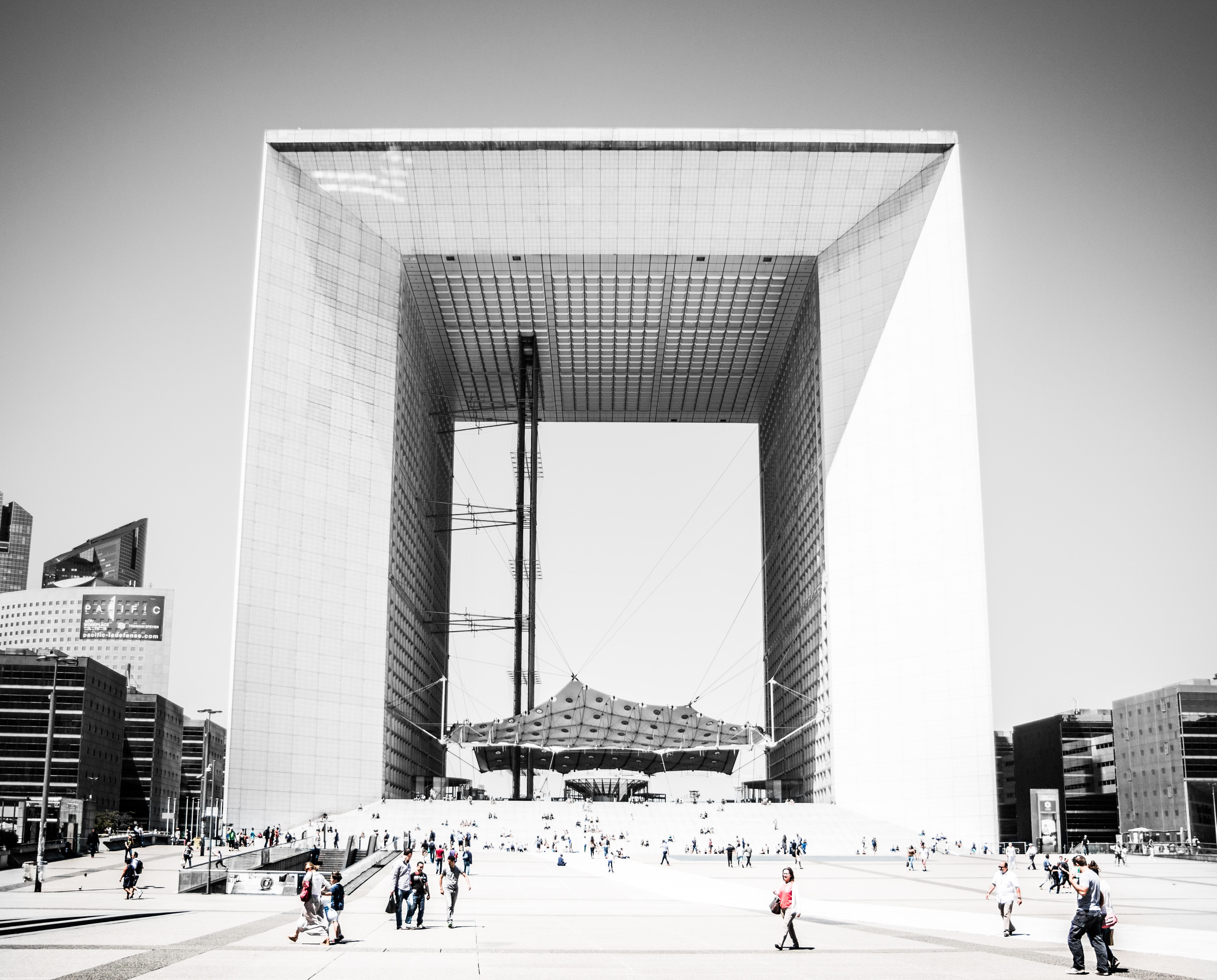grayscale architectural photography of square building