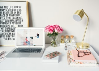 MacBook Air beside gold-colored study lamp and spiral books