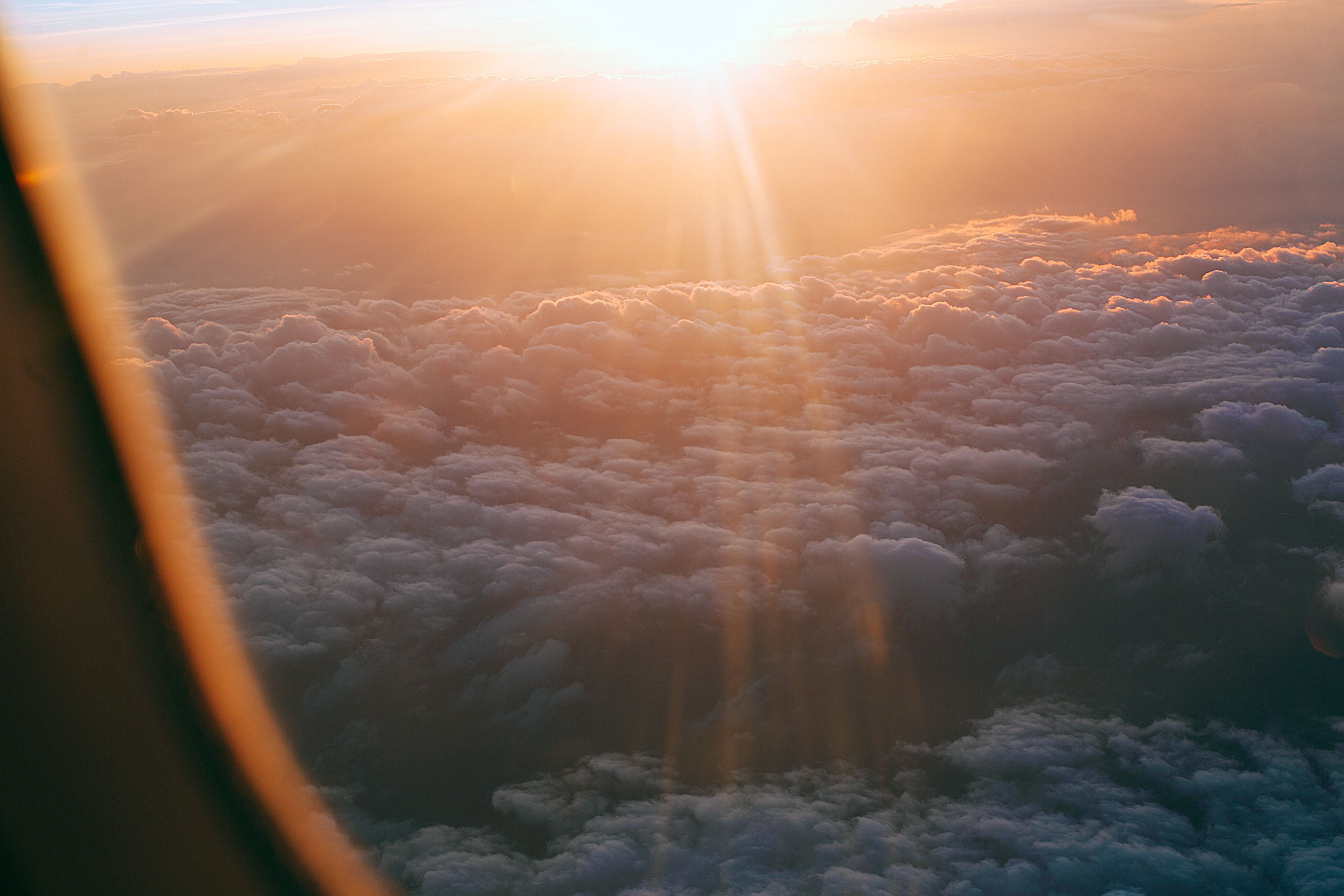 sunlight over white clouds