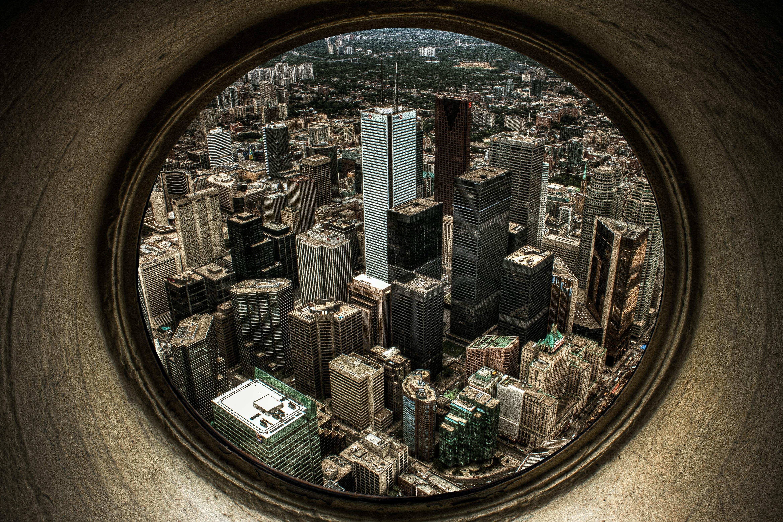 fisheye photography of high rise buildings