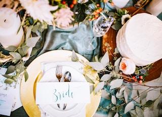 bride dinnerware set on table