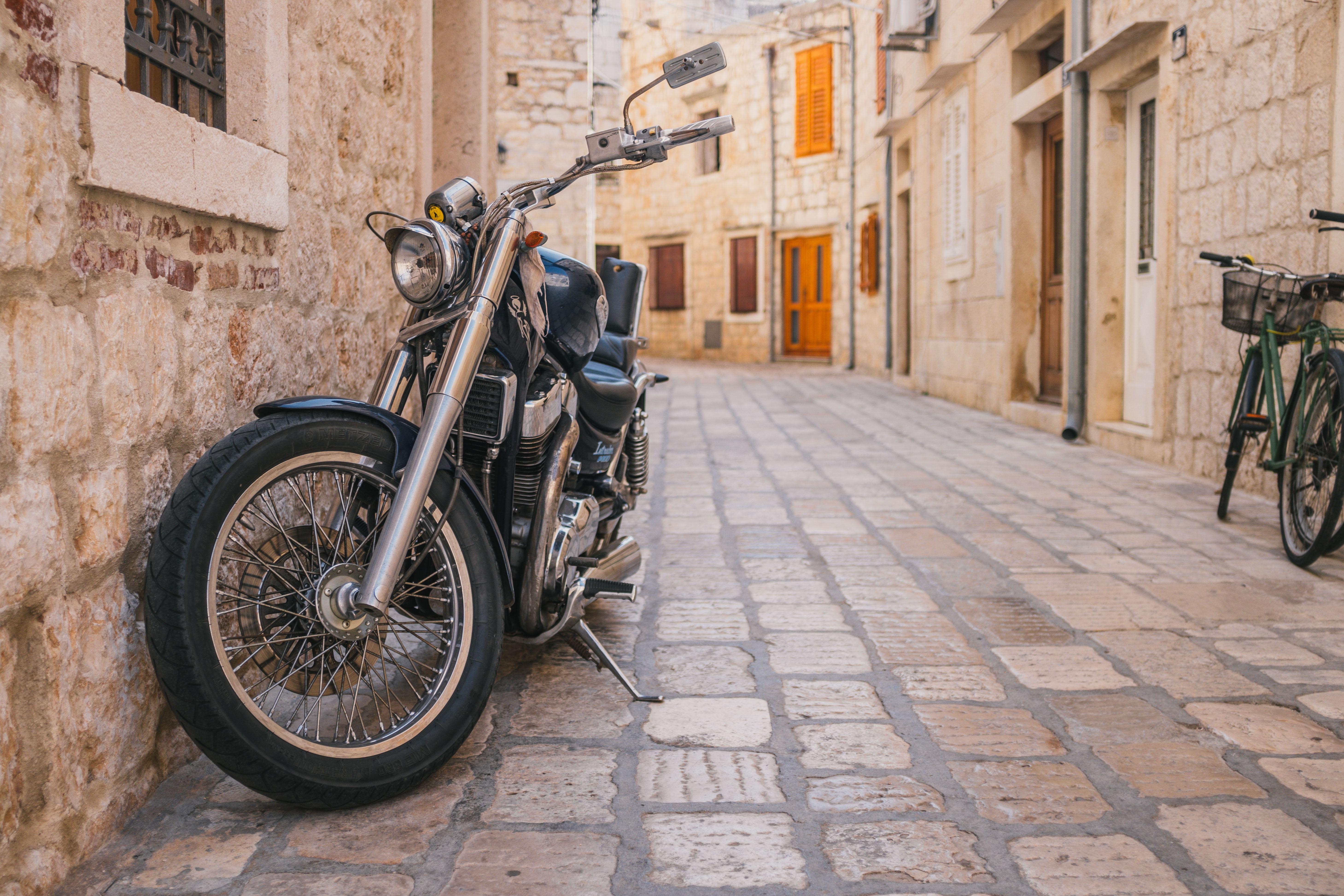tilt-shift lens photography of motorcycle