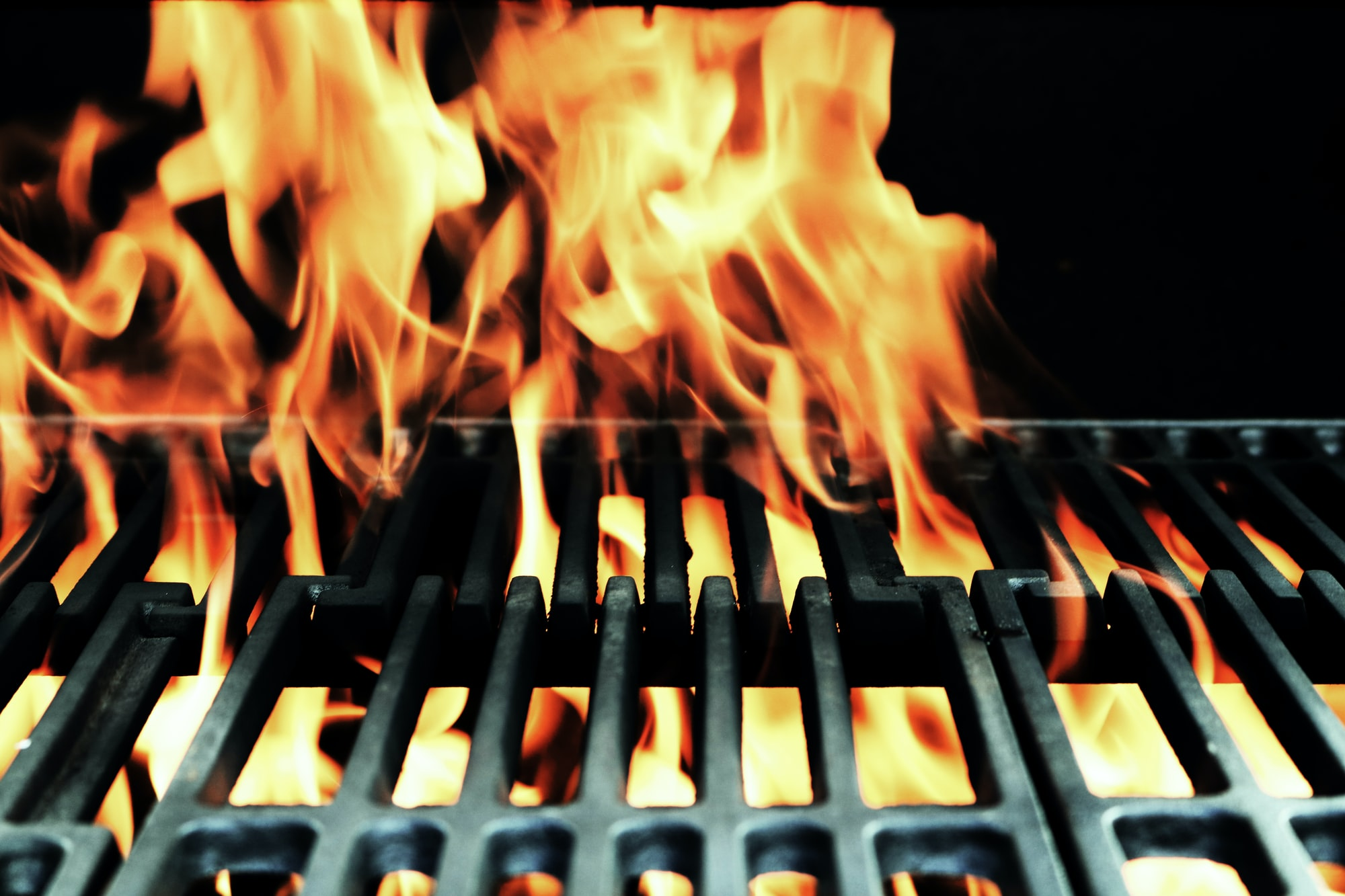 A fire in a grill.
