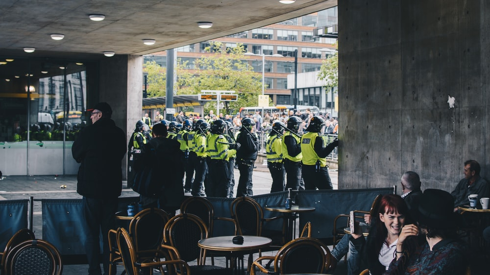 Policemen in structure