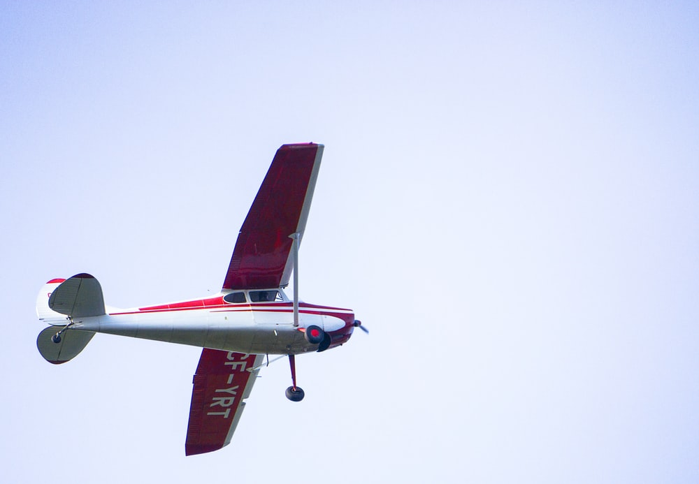 red and white monoplane