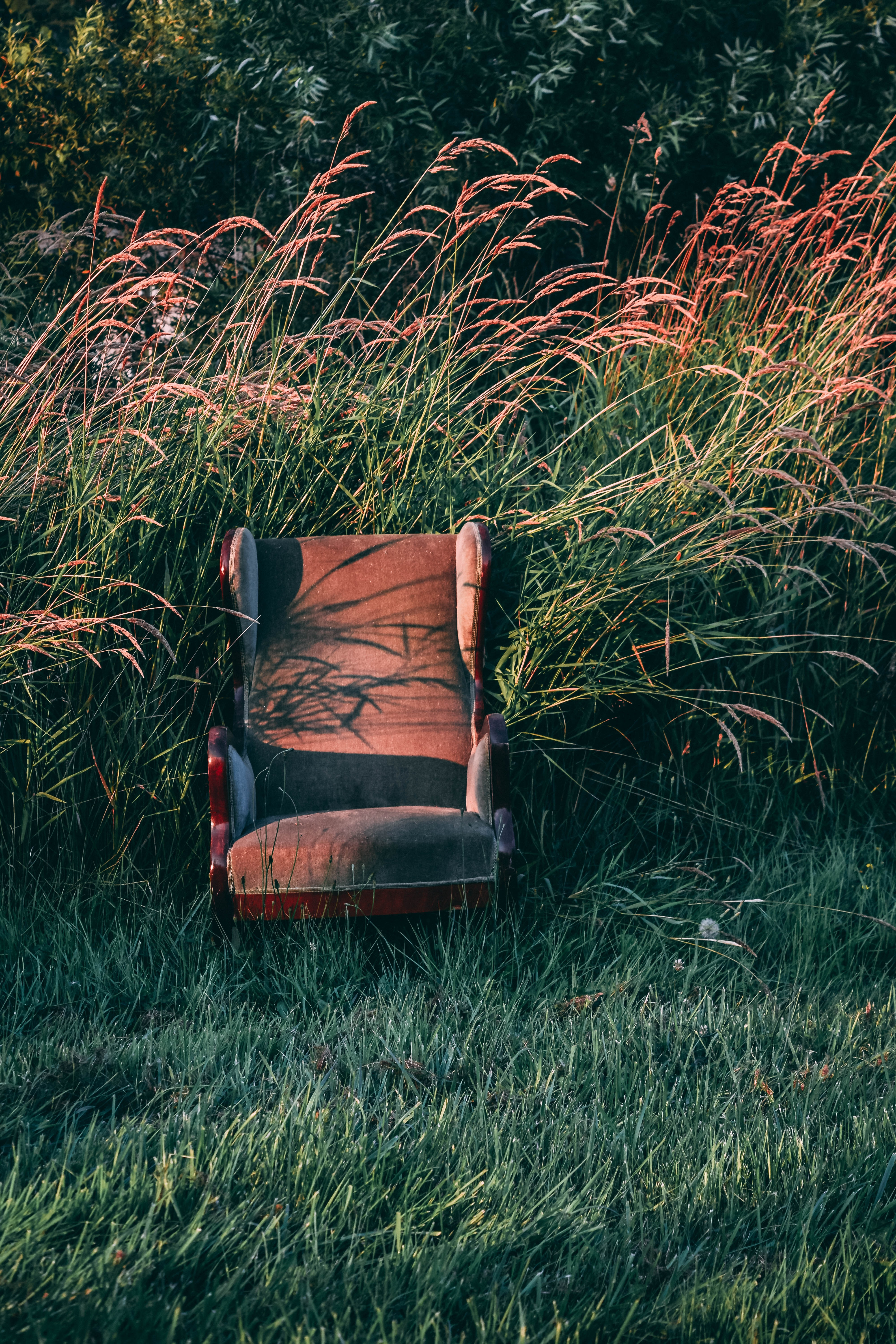 brown wooden base gray suede wing chair in front of green tall grass