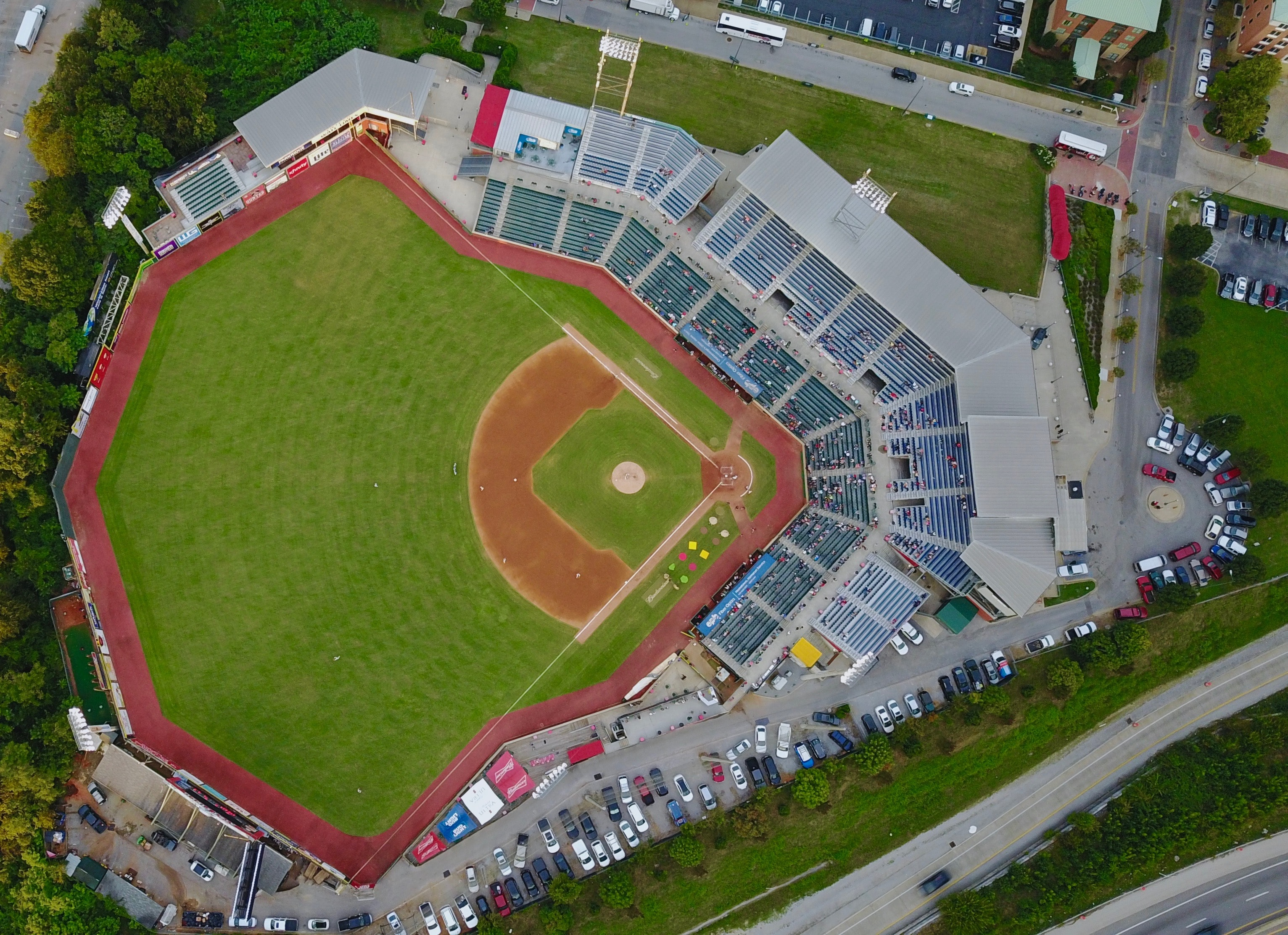 aerial view photo of baseball field