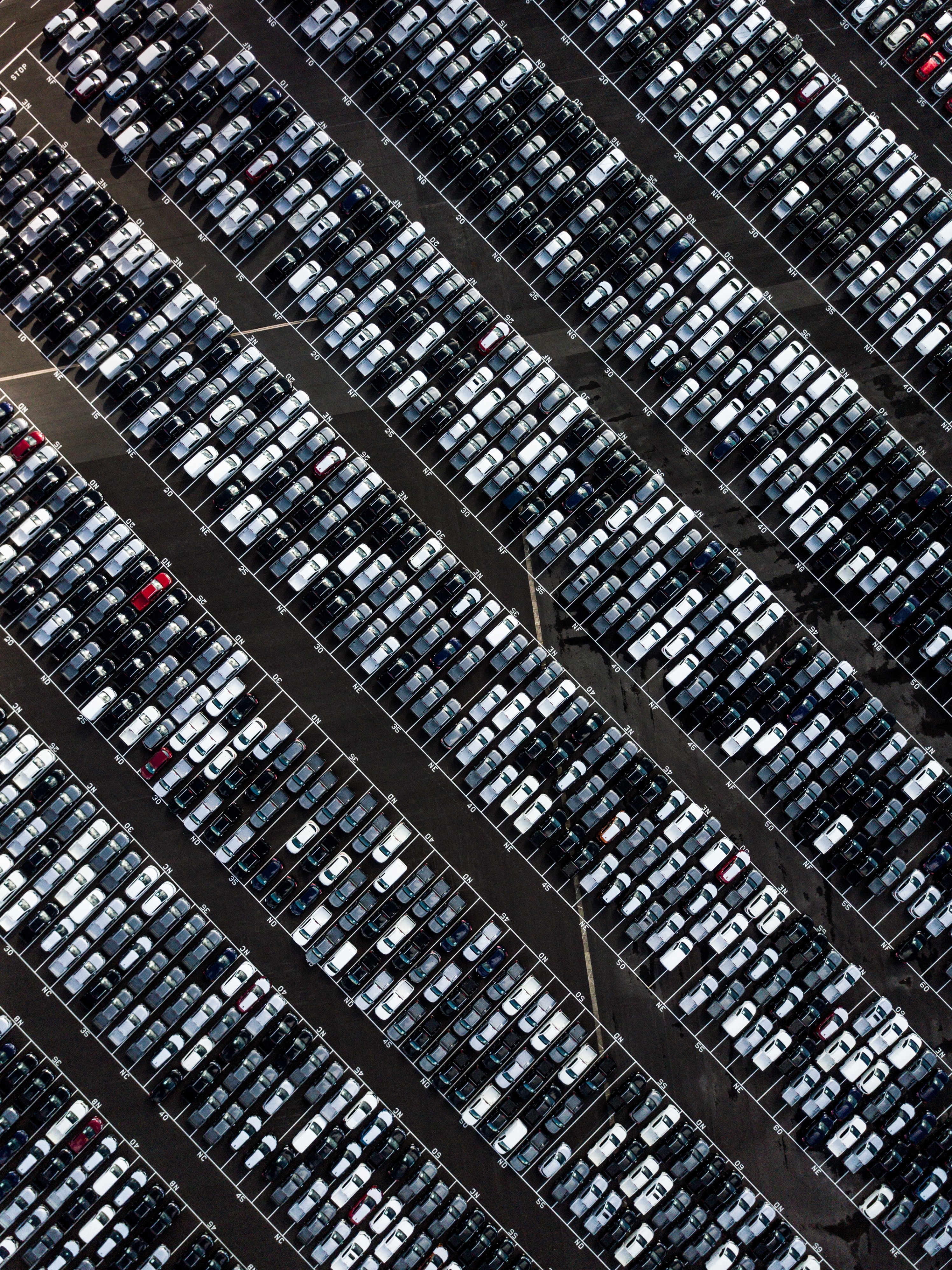 aerial photography of parking lot