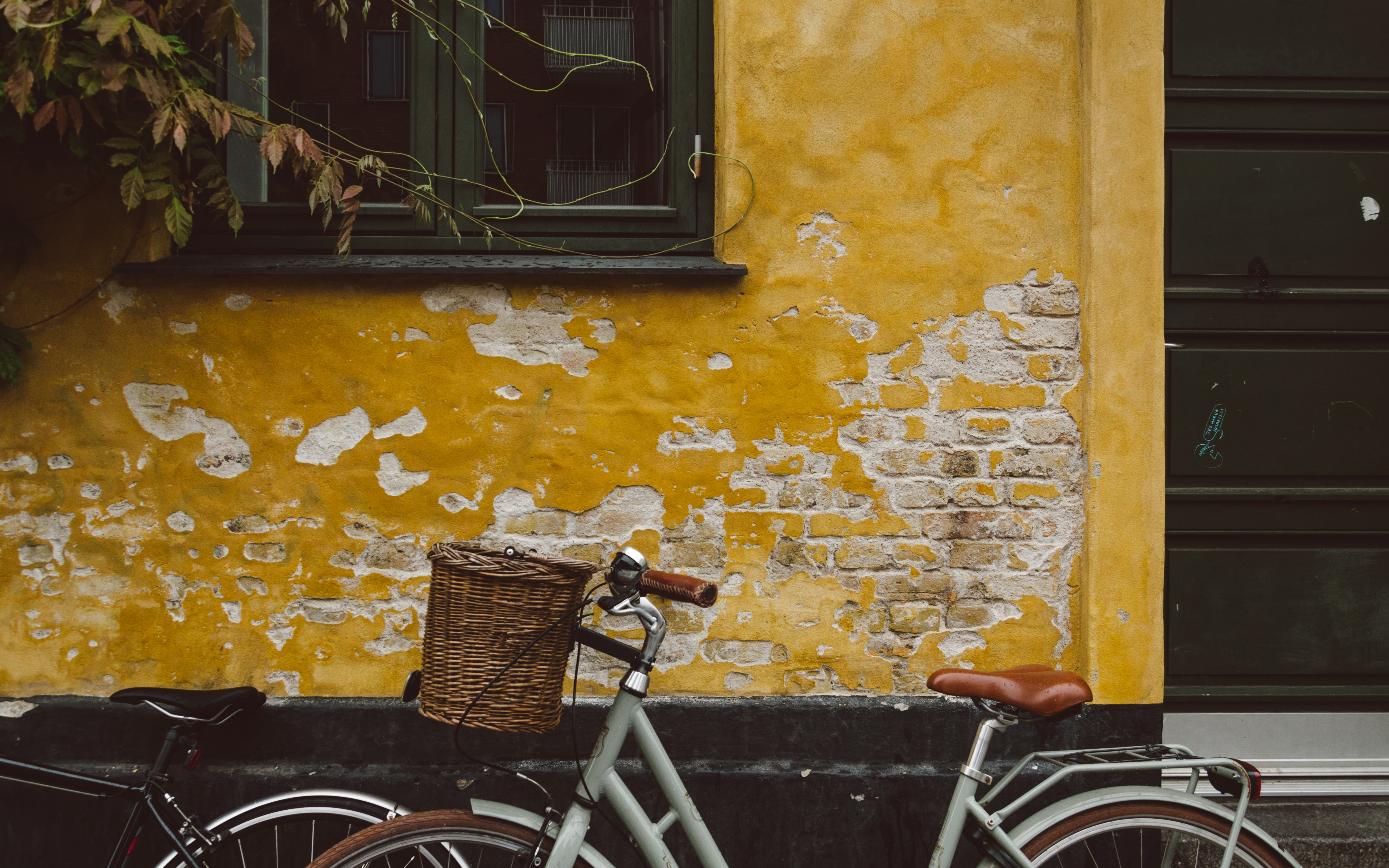 gray bicycle leaning on brown wall