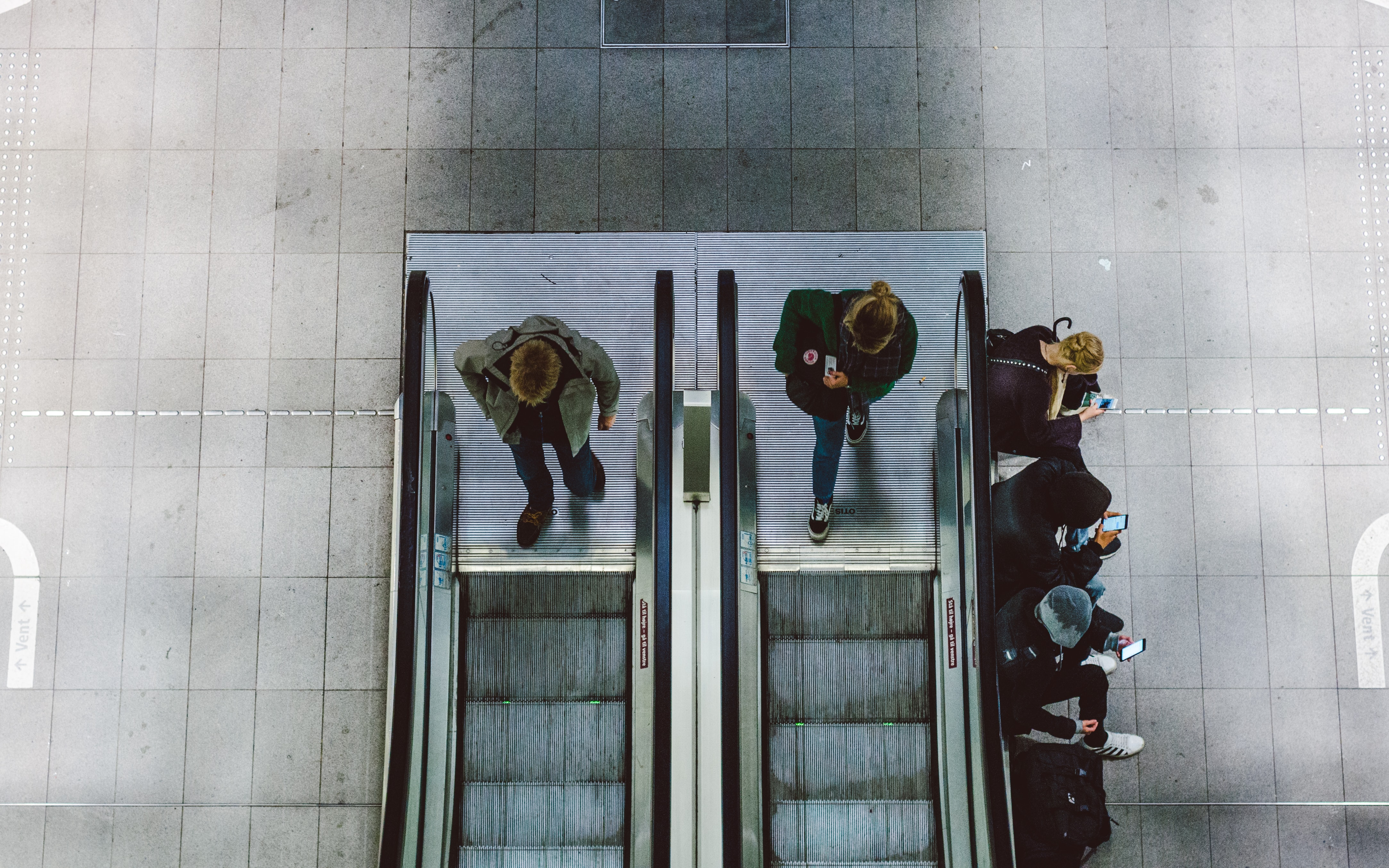 bird's-eye view of escalator