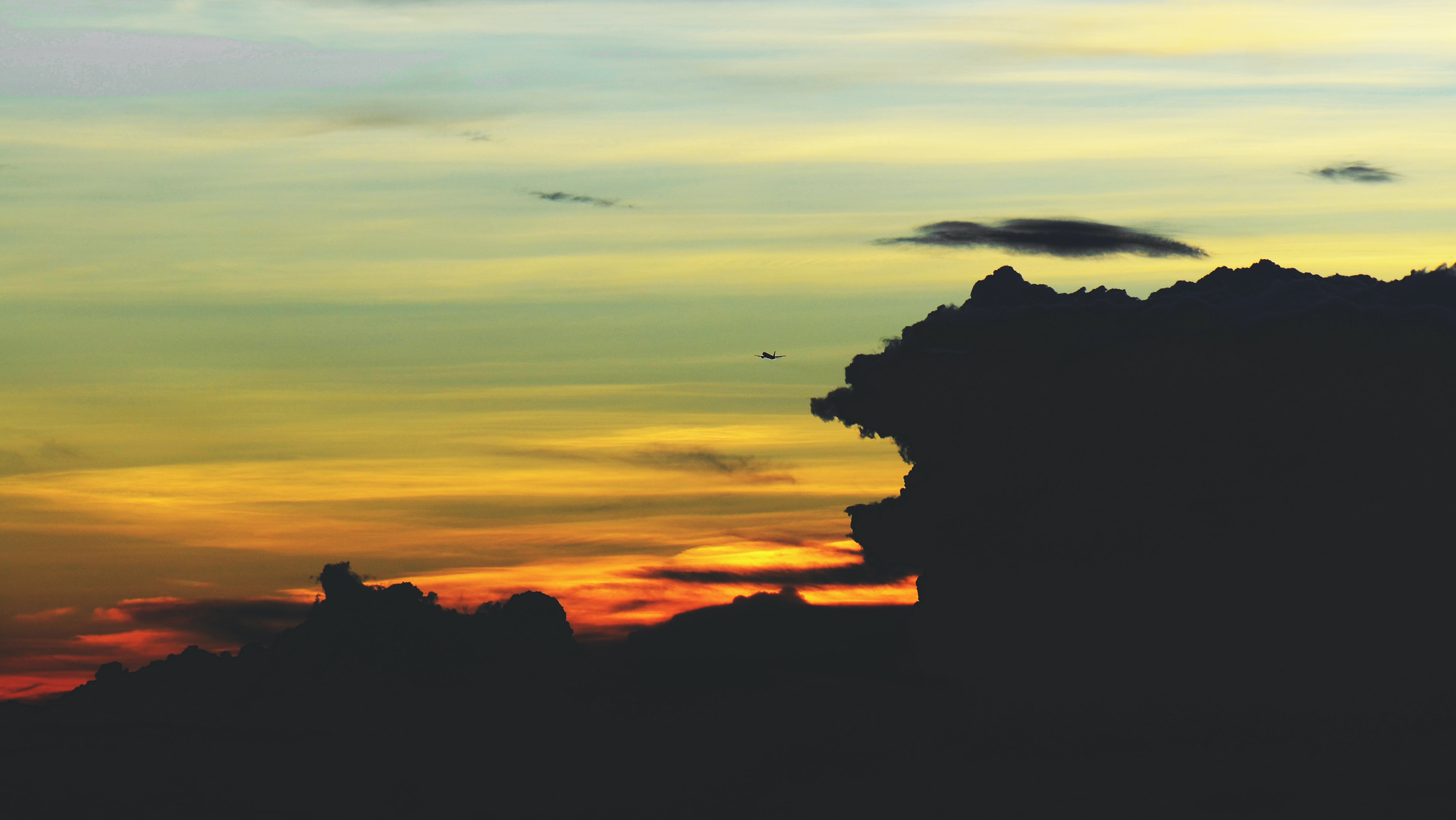 silhouette photo of scenery