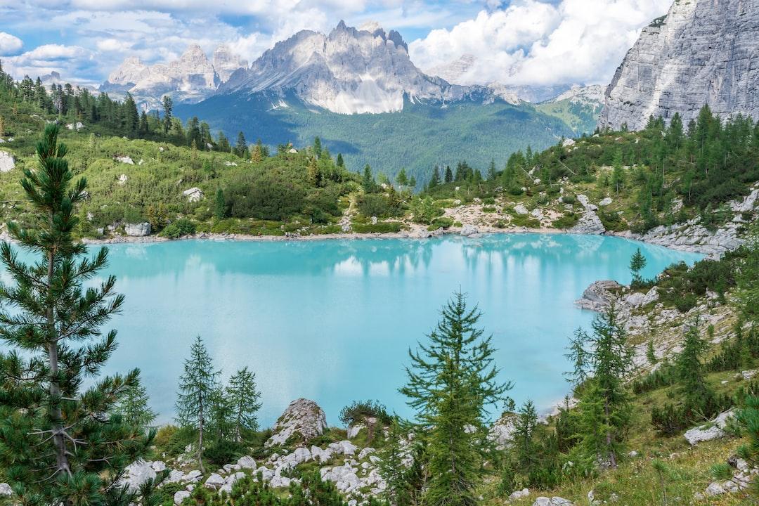 green pine trees near teal water at daytime photo – Free ...Lake Water Wallpaper