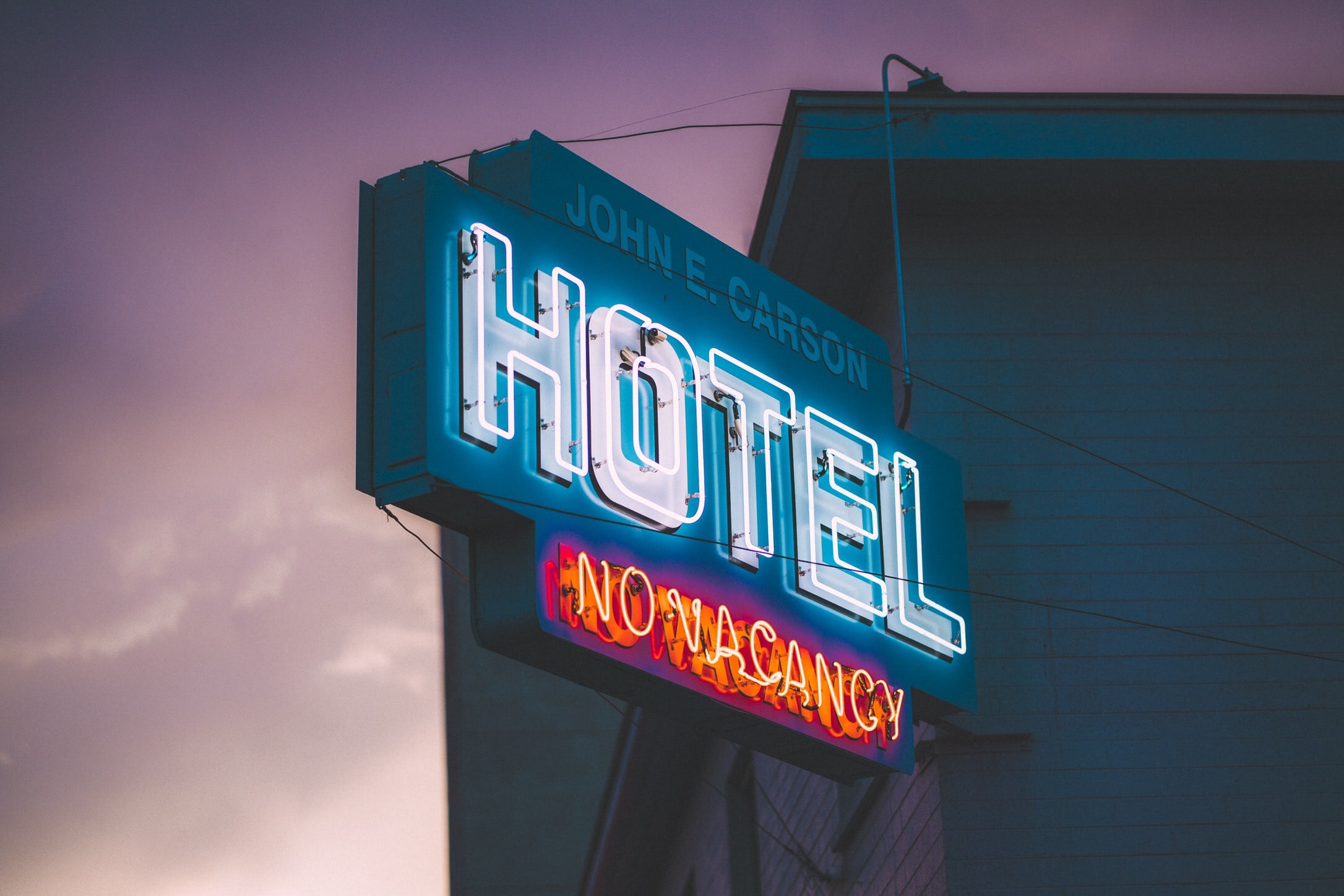 John E. Carson hotel no vacancy neon light signage