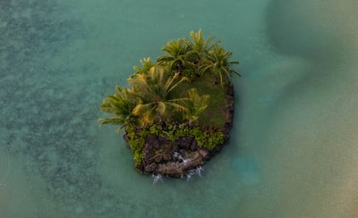 aerial photo of island with palm trees and rocks drone view teams background