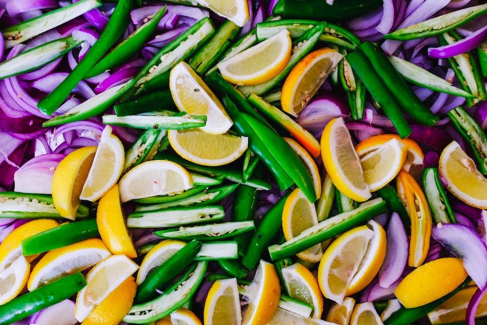 orange fruit and green vegetables