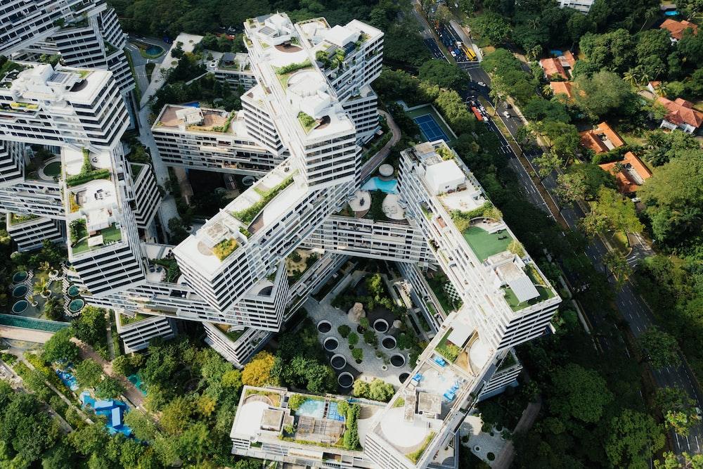 bird's-eye view photography of white concrete building