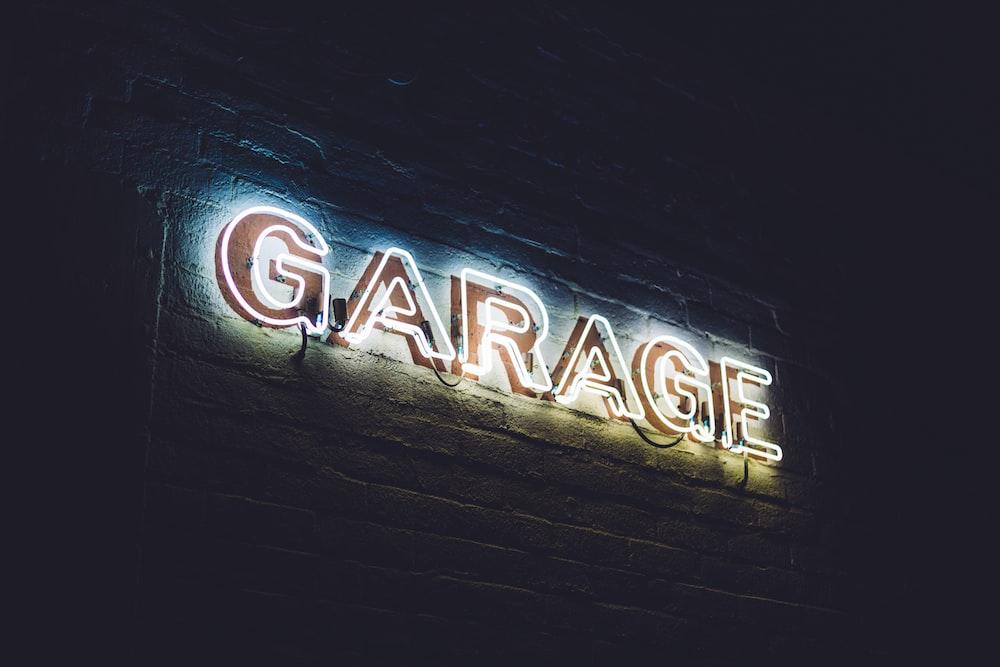 white garage neon light signage