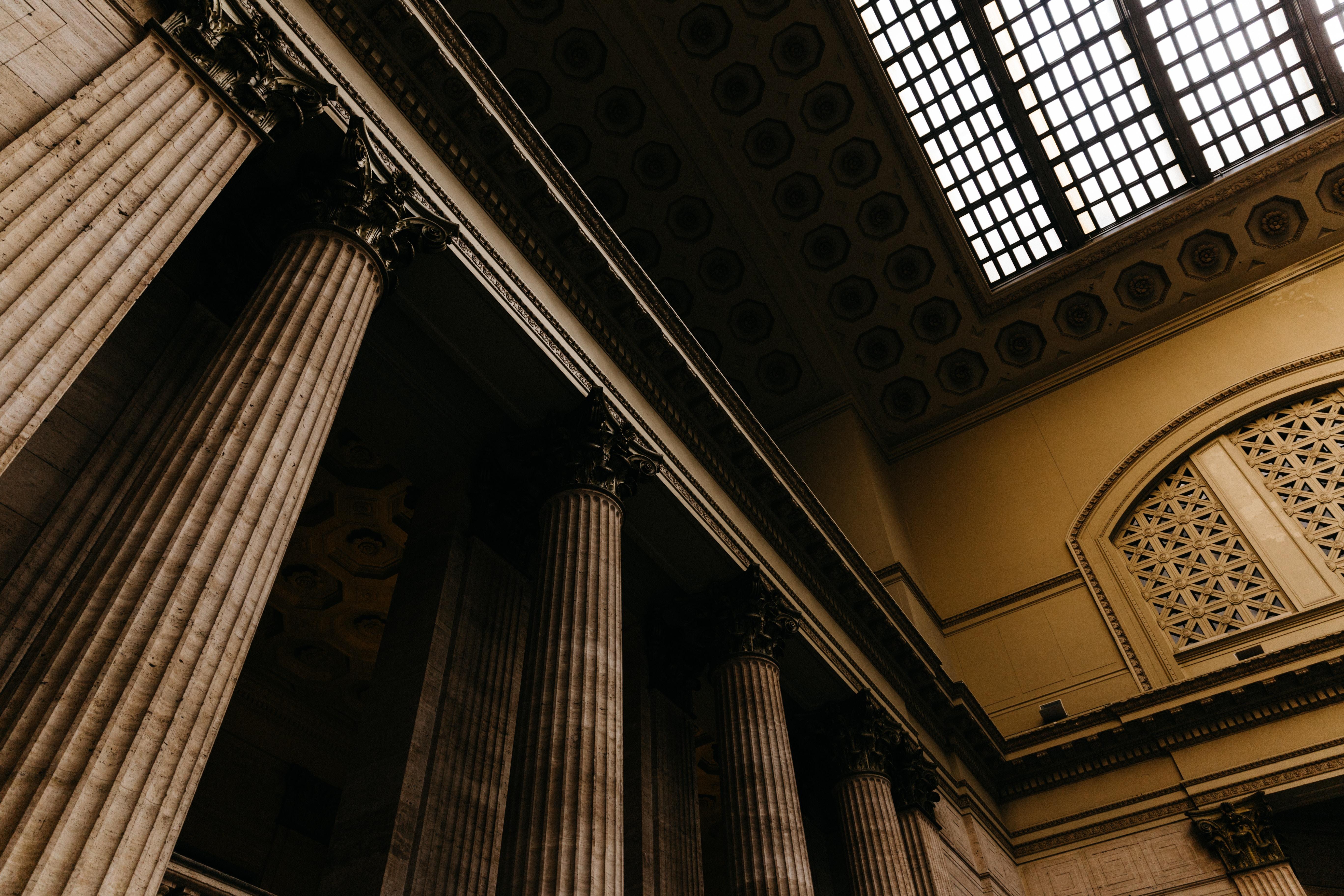 brown concrete pillars indoors