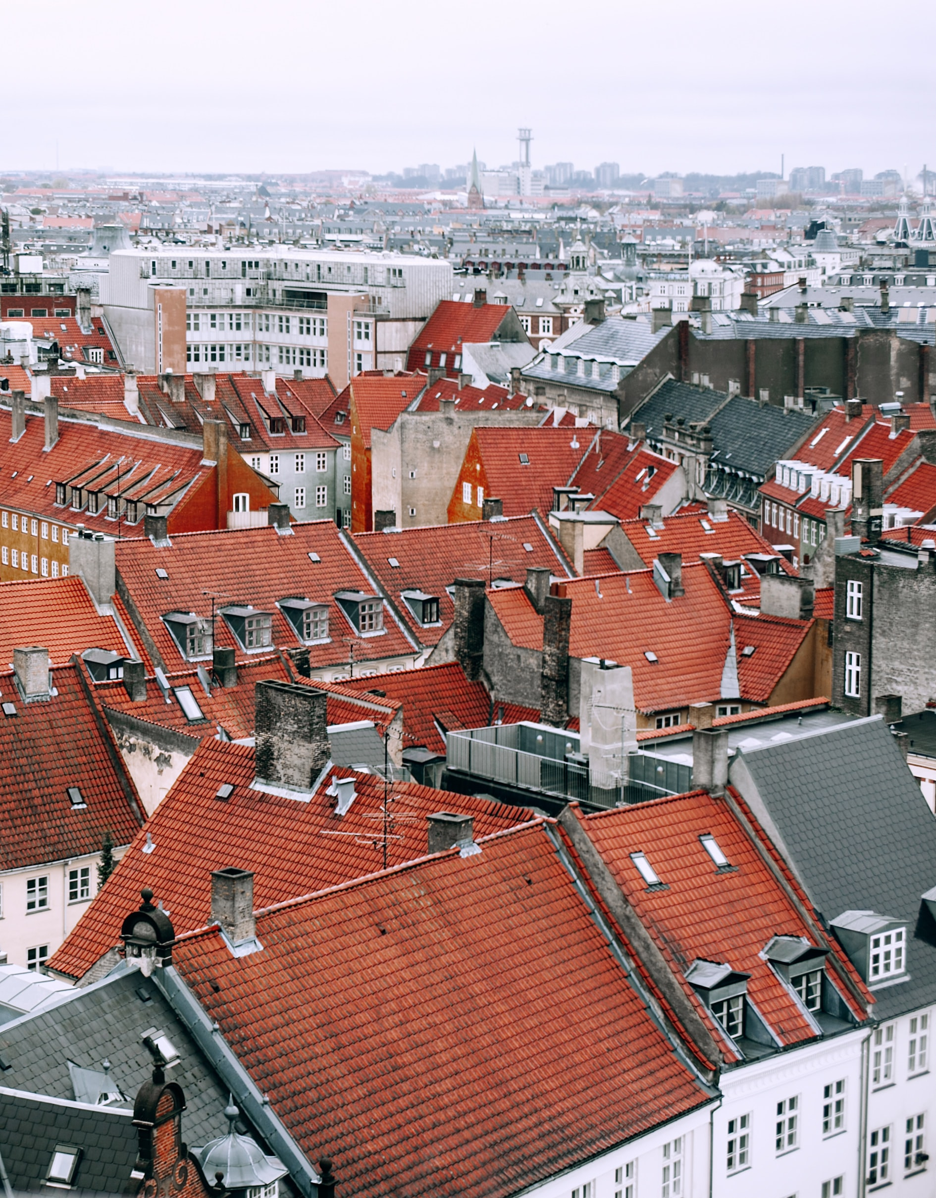 brown and grey roof houses at daytime