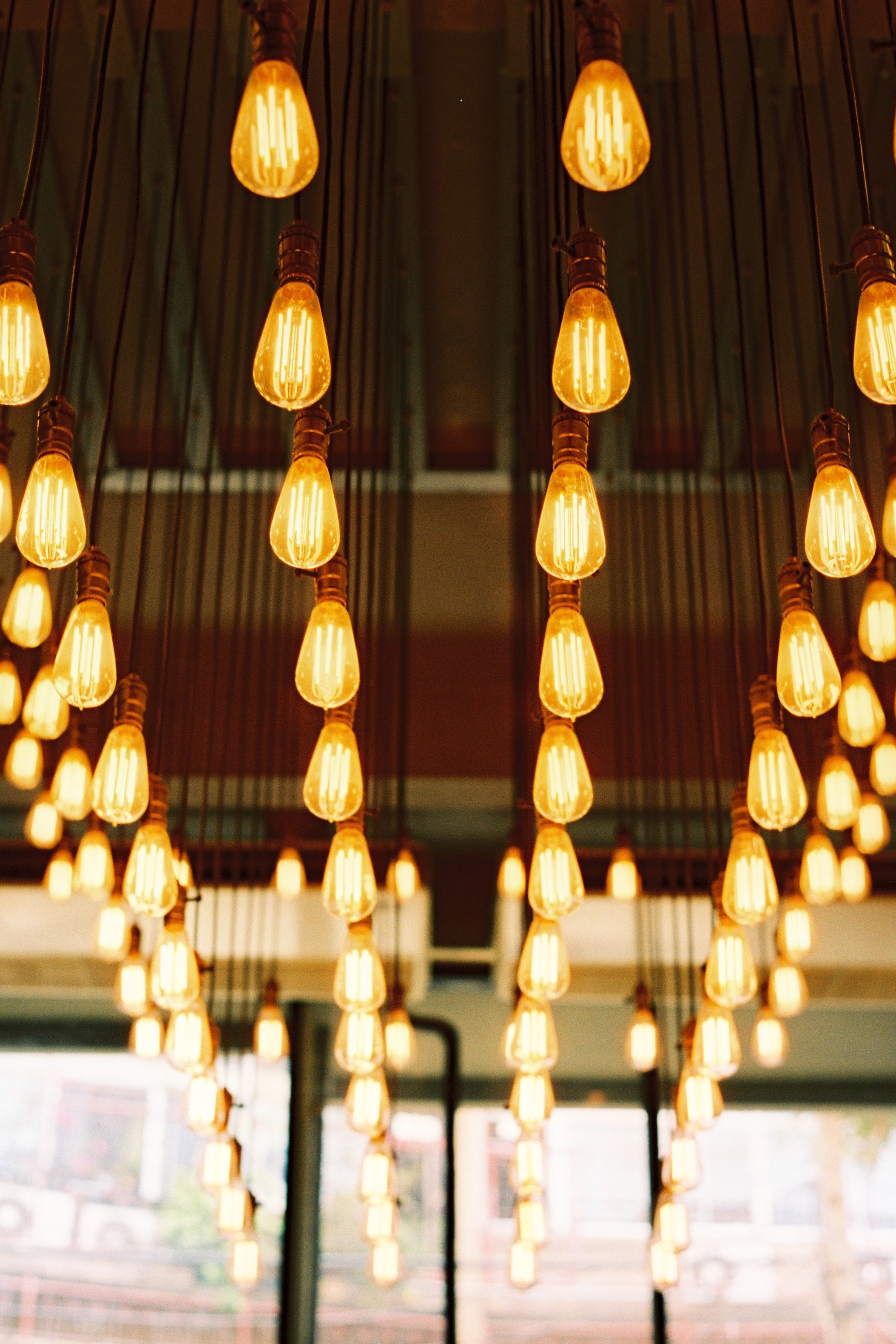 selective focus photography of light bulbs inside room