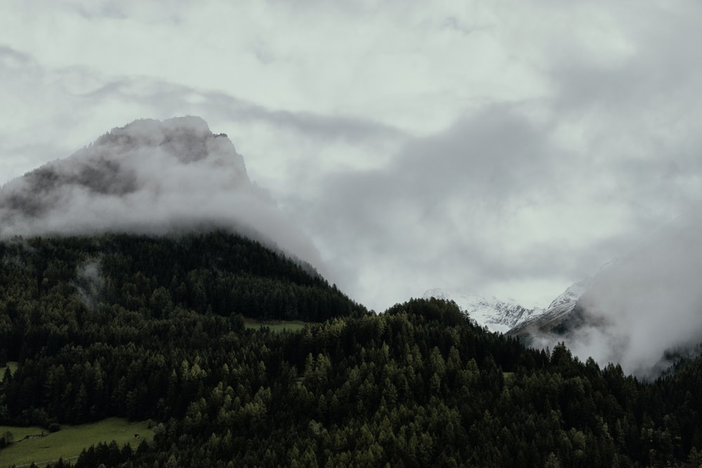 mountain surrounded by white clouds