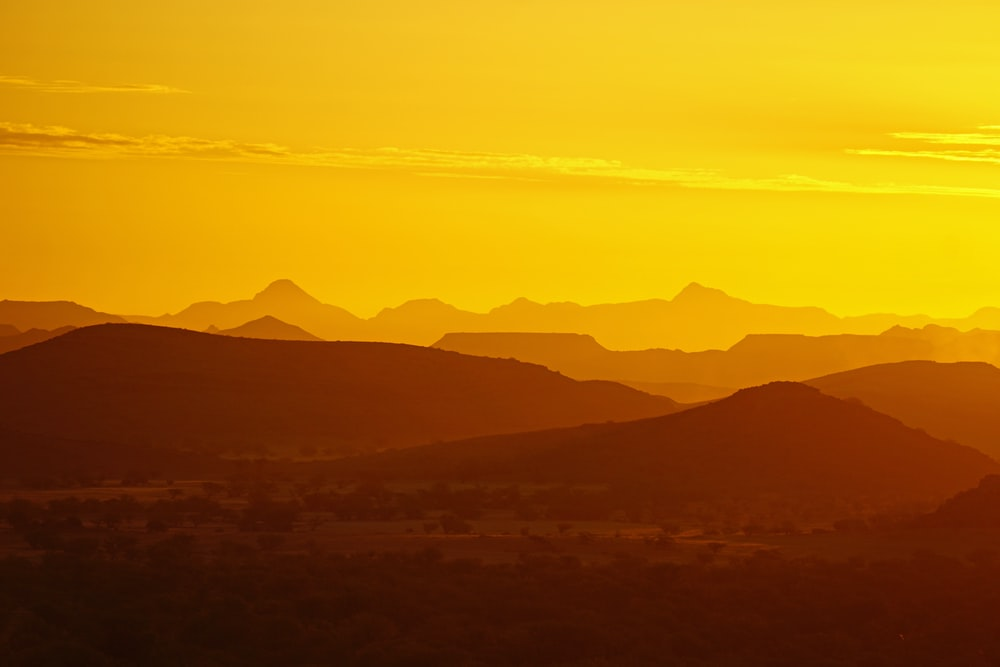 silhouette of mountain ranges
